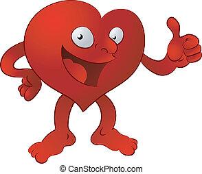 coração, ilustração, homem