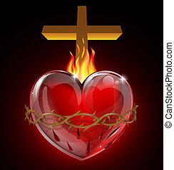 coração, ilustração, sagrado