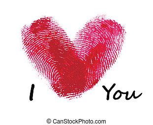 coração, impressões digitais