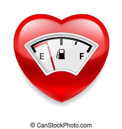 coração, indicador, combustível