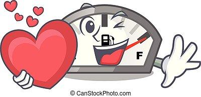 coração, indicador, motocicleta, gasolina, caricatura, varas