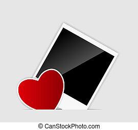 coração, instante, foto, ilustração, vetorial, em branco
