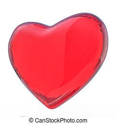 coração, isolado, experiência., branco vermelho, 3d