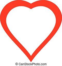coração, isolado, ilustração, experiência., vetorial, branco vermelho, ícone