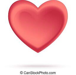 coração, -, isolado, ilustração, vetorial, vermelho