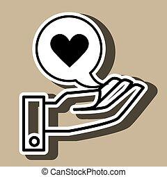 coração, isolado, mão, desenho, pretas, ícone