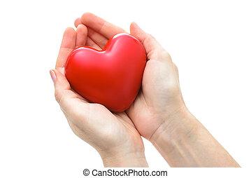 coração, isolado, mãos