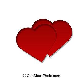 coração, isolado, vermelho