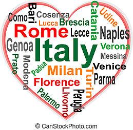 coração, itália, maior, palavras, cidades, nuvem