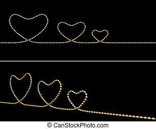 coração, jóia, ouro, símbolo, forma, desenho
