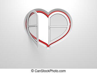 coração, janela, pre-opened, sol, cego