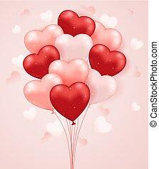 coração, jogo, balloons., dado forma