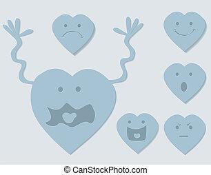 coração, jogo, caricatura