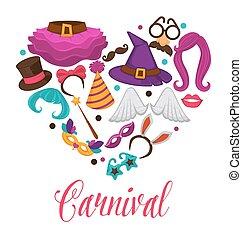 coração, jogo, carnaval, ícones, cartaz, apartamento, acessório, vetorial, máscaras, traje
