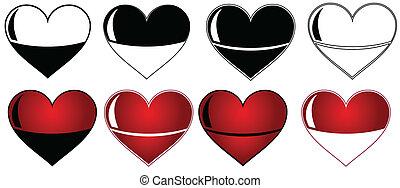 coração, jogo, etiqueta