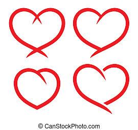 coração, jogo, vermelho