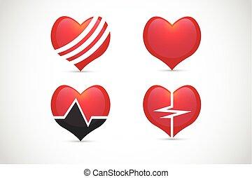 coração, jogo, vetorial, saúde, ícone