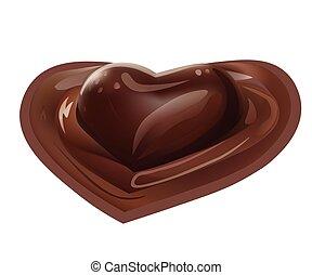 coração, líquido, dado forma, sobremesa, derretido, ilustração, chocolate, realístico, vetorial, fundo, branca