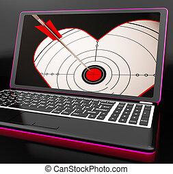 coração, laptop, flertar, alvo, mostra