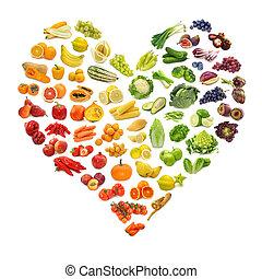coração, legumes, frutas