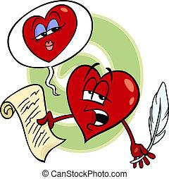 coração, leitura, amor, caricatura, poema