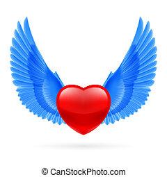 coração, levantado, asas