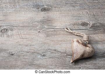coração, ligado, madeira, fundo