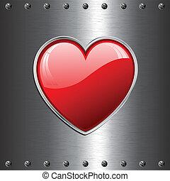 coração, ligado, metal, fundo
