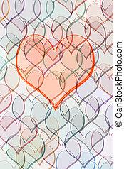 coração, ligado, padrão, de, corações