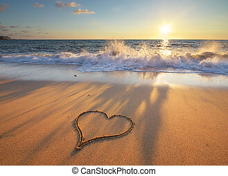 coração, ligado, praia