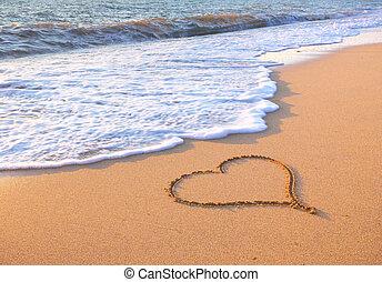 coração, ligado, praia.