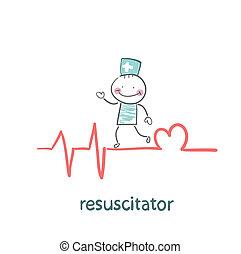 coração, linha, batendo, resuscitation, mostrando