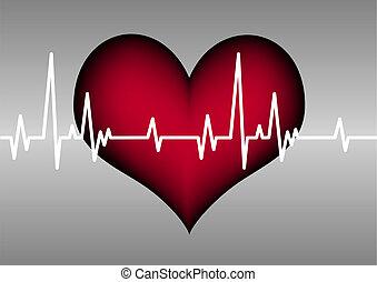 coração, linha, cardiograma