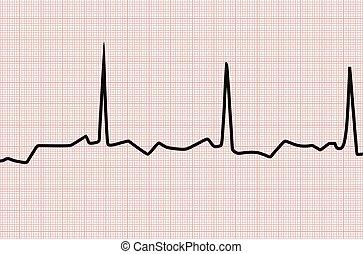coração, linha gráfico