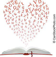 coração, livro, letras, abertos