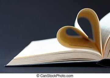 coração, livro, páginas, curvado
