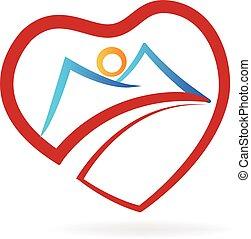 coração, logotipo, montanha