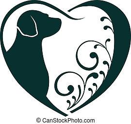 coração, love., veterinário, cão