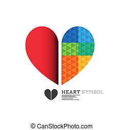 coração, luminoso, desenho, símbolo