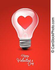 coração, luz, valentine, fundo, bulbo, dia