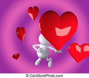 coração, mão, 3d, pessoas