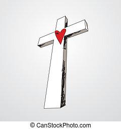 coração, mão, crucifixos, desenhado