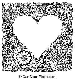 coração, mão, desenhado