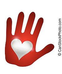 coração, mão., desenho, ilustração
