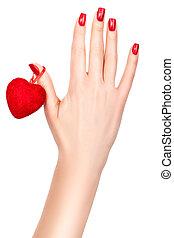 coração, mão., femininas
