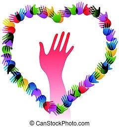 coração, mãos, coloridos, segurando, formando