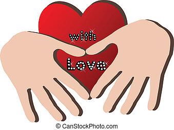coração, mãos, logotipo