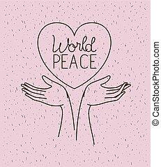 coração, mãos, paz, mundo