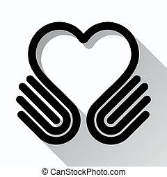coração, mãos, símbolo, vetorial, pretas, branca