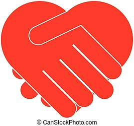 coração, mãos sacudindo, formando